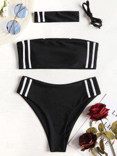 Contrast Stripe Choker Bikini - Black M