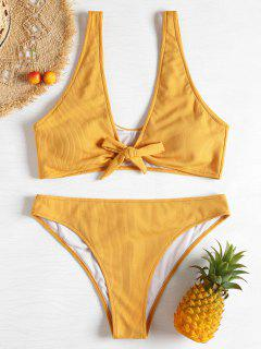 Ribbed Knotted Scrunch Butt Plus Size Bikini - Bee Yellow 1x