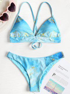 Malerei Kreuz Riemchen Bikini - Blau Lagune S