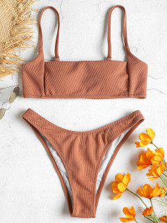 Bikini Acanalado De Cuello Cuadrado - Salmón Oscuro S