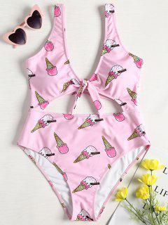 Ice Cream Knot High Cut Swimsuit - Light Pink L