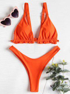 Ensemble De Bikini T-String Plissé - Orange Vif M