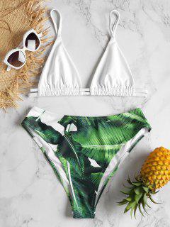 Blatt Druck Hohe Taille Bikini Set - Multi-j M