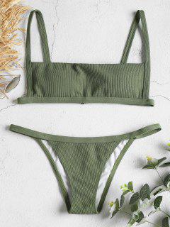 Bikini-Set Mit Gerippten Haken - Wald Grün M