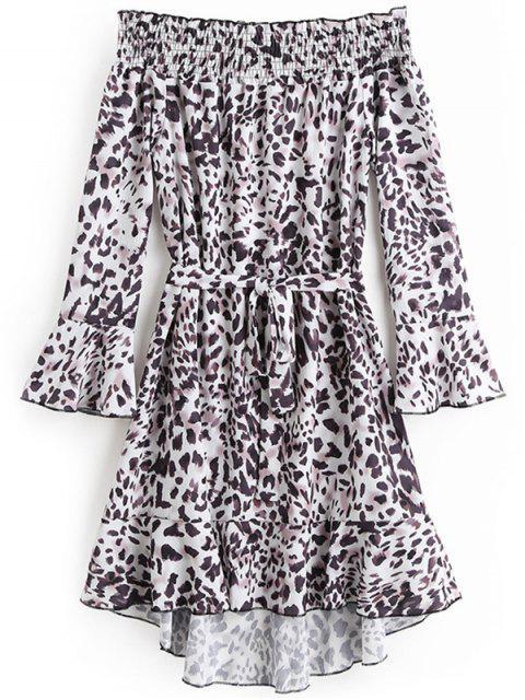 women's Off Shoulde Flare Sleeve Leopard Belted Dress - LEOPARD PRINT S Mobile