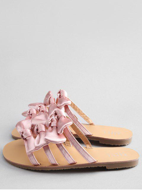 new Bowknot Decorated Leisure Flat Heel Thong Slide Sandals - PIG PINK 38 Mobile