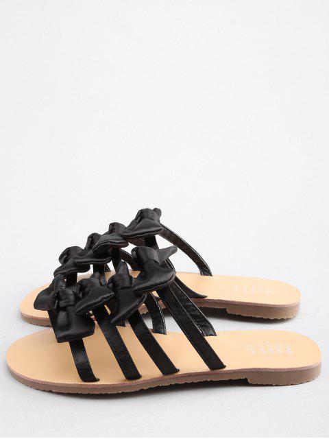 shops Bowknot Decorated Leisure Flat Heel Thong Slide Sandals - BLACK 39 Mobile
