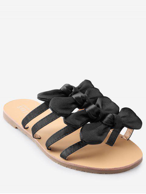 Bowknot decorado ocio plano talón tanga diapositiva sandalias - Negro 38 Mobile