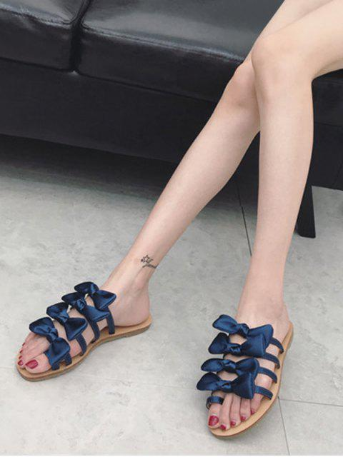 fancy Bowknot Decorated Leisure Flat Heel Thong Slide Sandals - EARTH BLUE 38 Mobile