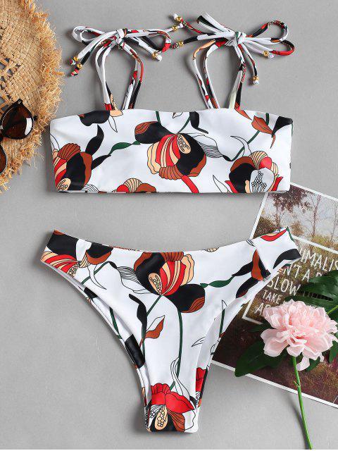 Bikini de corte alto con hombros descubiertos - Blanco M Mobile