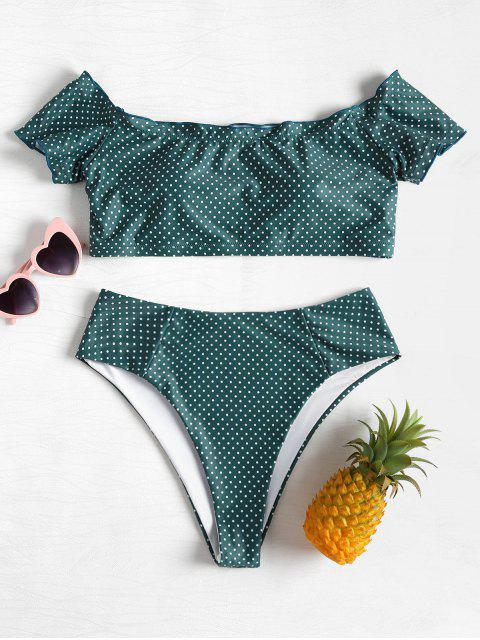 online Off  Shoulder Dotted Plus Size Bikini - SEA GREEN 1X Mobile