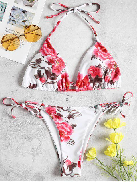 Blumen Seitlicher Riemchen String Bikini - Bohne Rot S Mobile