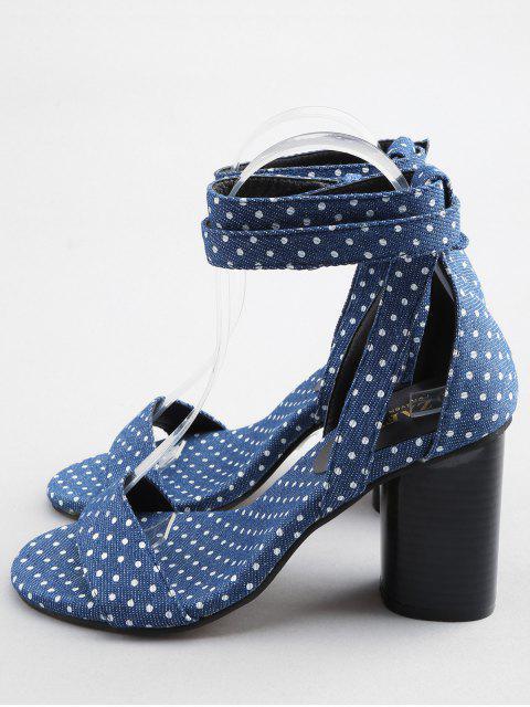 Sandales à Pois avec Talons Épais et Bride à la Cheville Style Vintage - Bleu Royal 36 Mobile