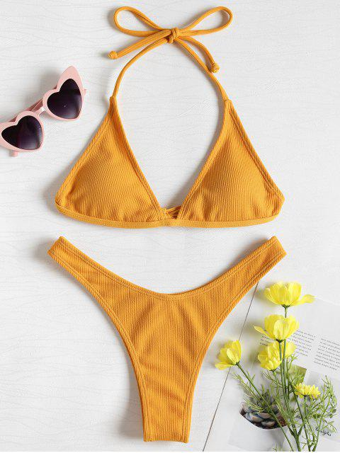 fashion Ribbed High Leg Bikini Set - BRIGHT YELLOW S Mobile