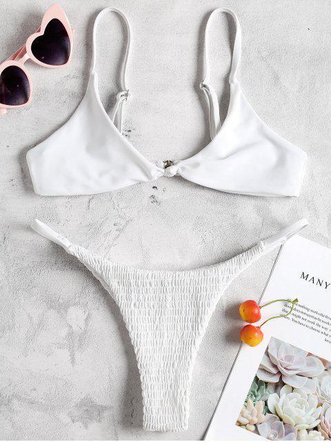 Bralette Micro Smocked Bikini Set - Weiß M Mobile