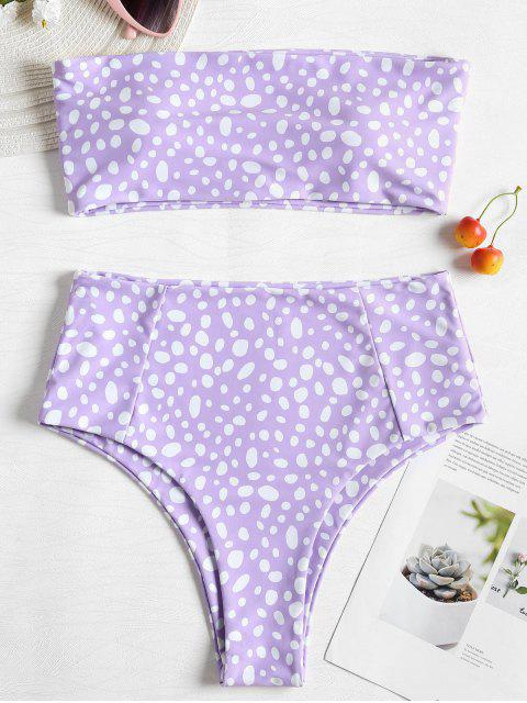 lady Bandeau Leopard High Waisted Bikini - PURPLE MIMOSA S Mobile