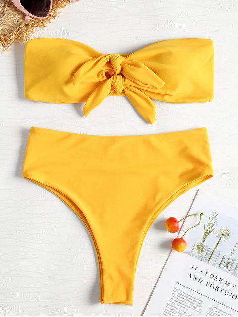 Bikini palabra de honor anudado de corte alto - Amarillo Brillante M Mobile
