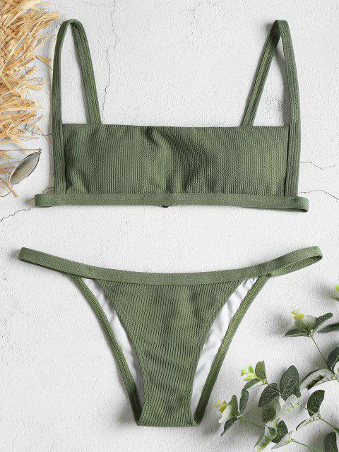 shops Ribbed Hook String Bikini Set - FOREST GREEN L Mobile