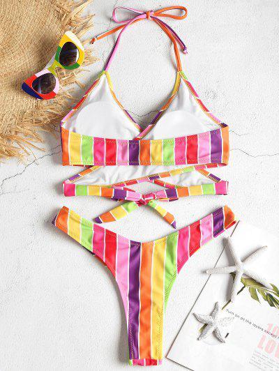 Rainbow Wrap Bikini Set, Multi-j