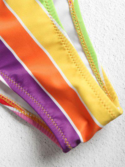 Rainbow Striped High Waisted Bikini Set, Multi-j