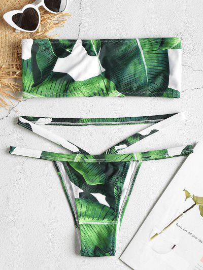 Lace-up Leaf Print Bandeau Bikini Set - Deep Green S