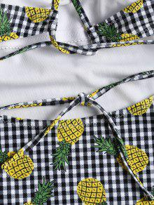 Size 2x Tie Pineapple Ba o Traje De Gingham Multicolor Plus Self Ta8vxanF