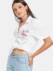 قميص فلامنغو مطرز بولينج - أبيض