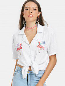 Bolos De Blanco Con De Bordada Camisa Estampado Flamencos vfWZ5wZqR
