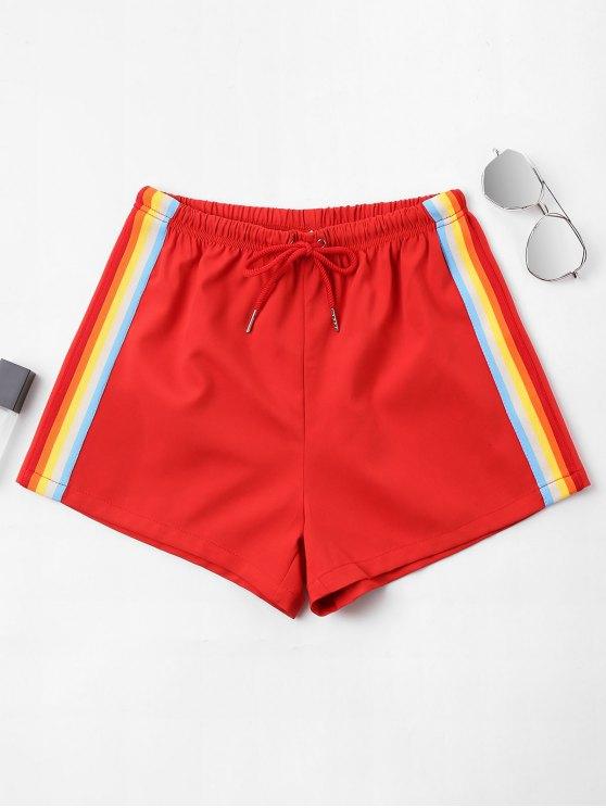 Hohe Taille Streifen Shorts - Feuerwehrauto Rot XL