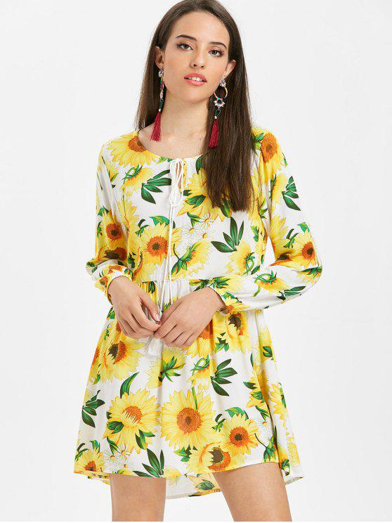 affordable Long Sleeve Sunflower Smock Dress - YELLOW M