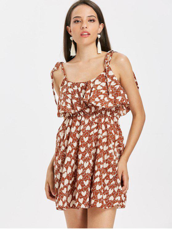 Mini vestido con volantes y lazo con estampado de corazones - Castaña L