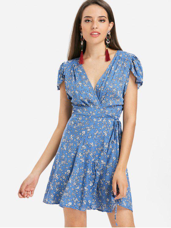 Mini vestido de manga floral con manga corta - Azul L
