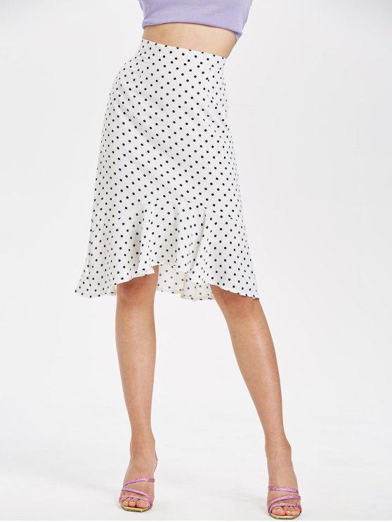 Falda a media pierna con lunares y volantes en el dobladillo - Blanco L