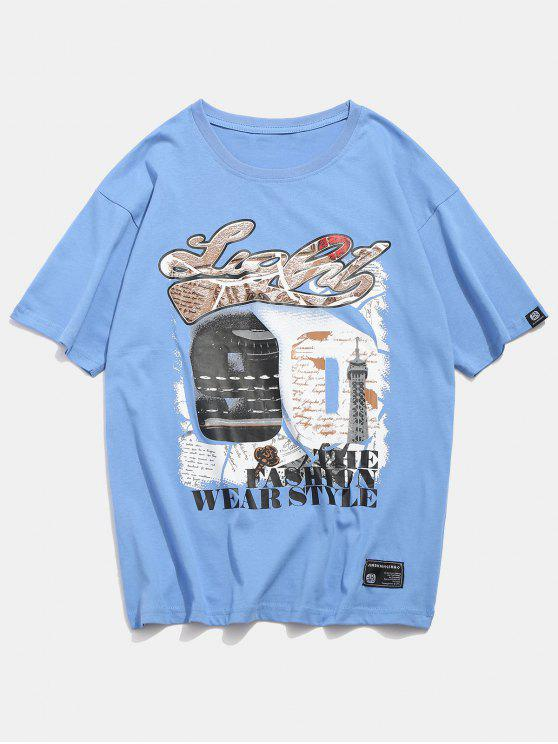 best 90 Number Graphic Printed Tee - LIGHT SKY BLUE L