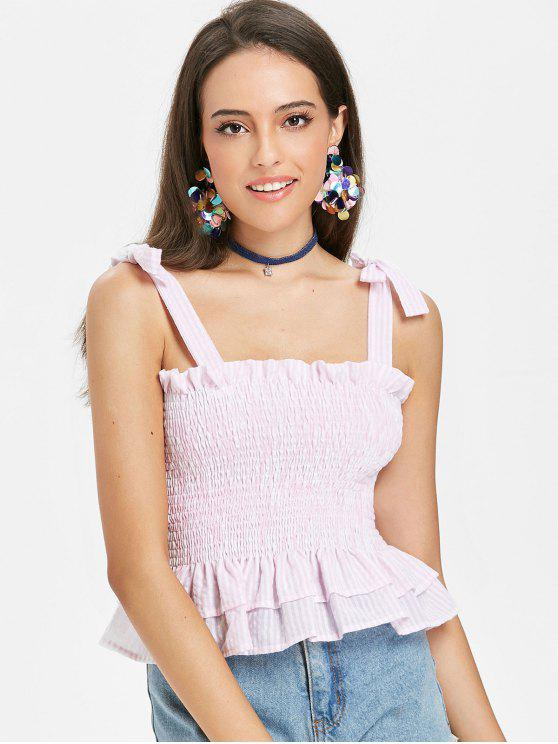 Tiered Smocked Tank Top   Pig Pink S by Zaful