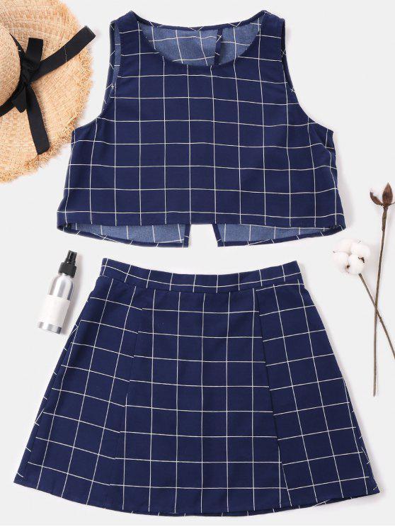 trendy Checked Sleeveless Skirt Set - MIDNIGHT BLUE S