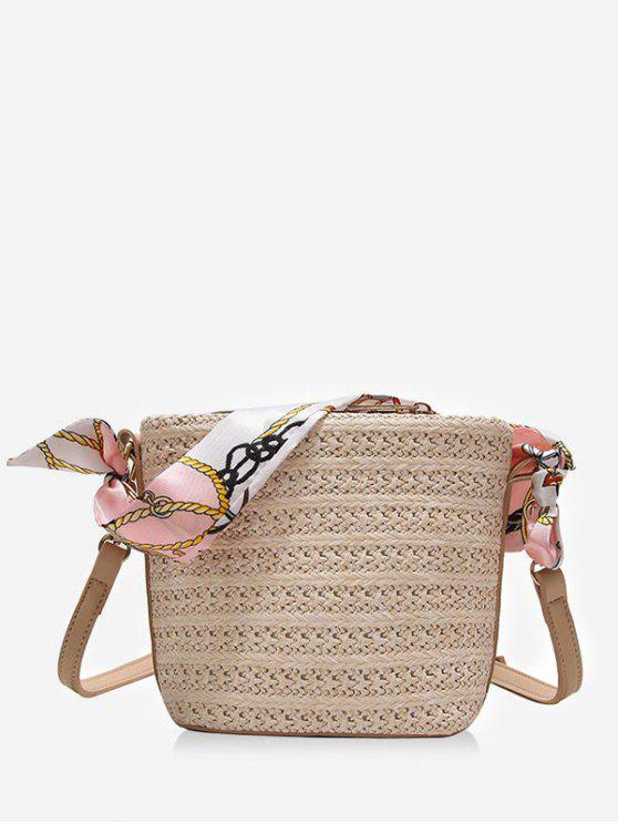 women Leisure Scarf Straw Vacation Crossbody Bag - BEIGE