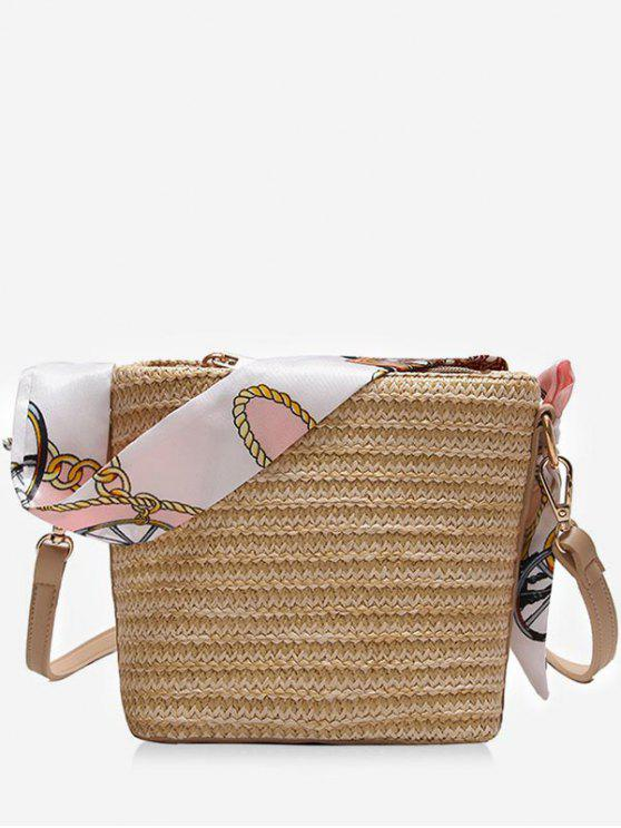 Bufanda de ocio Straw Vacation Crossbody Bag - Camel Marrón