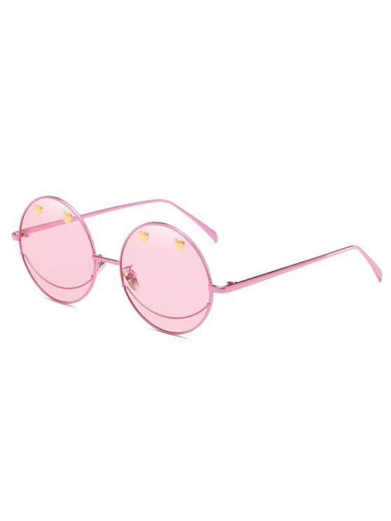 Occhiali Da Sole Di Novita' Con Montatura Circolare In Metallo - Rosa Suino