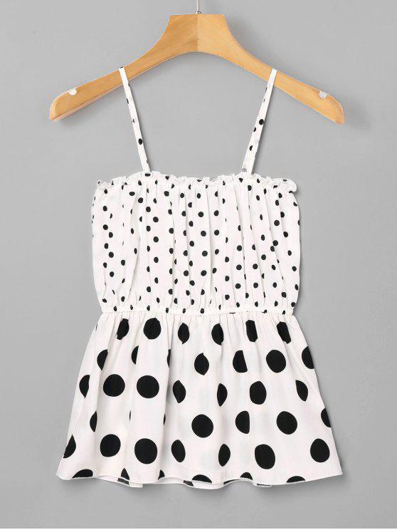 women's Polka Dot Ruffle Slip Tank Top - WHITE M