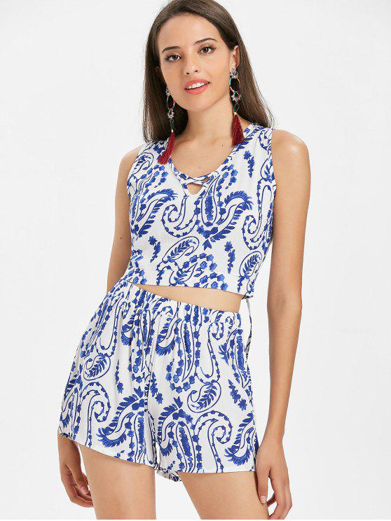 fashion Paisley Print Top and Shorts Matching Set - MULTI L