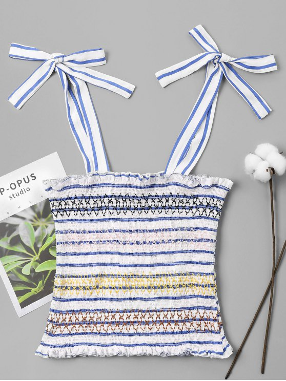 chic Striped Smocked Tied Tank Top - SKY BLUE M
