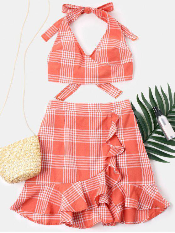 hot Ruffles Plaid Skirt Set - TANGERINE XL