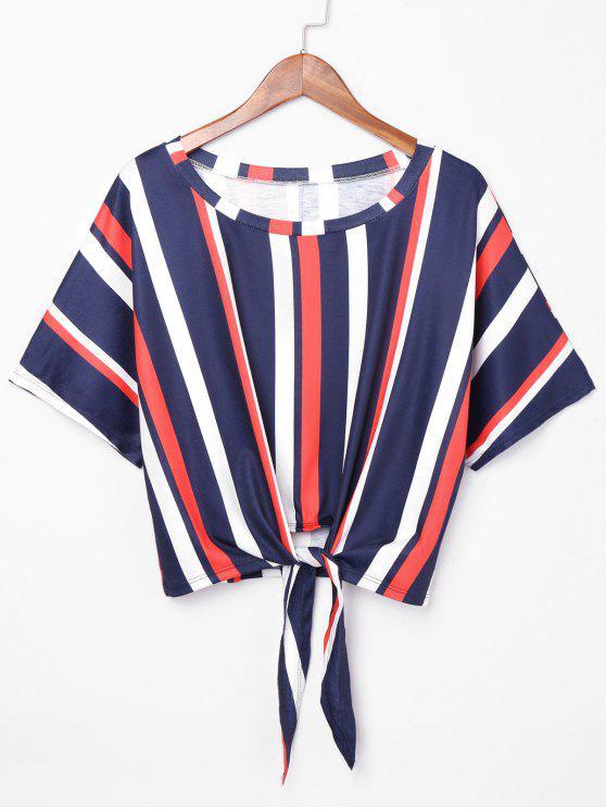 d32f50d4c09e8 29% OFF  2019 Knot Front Striped Crop T-shirt In MULTI M