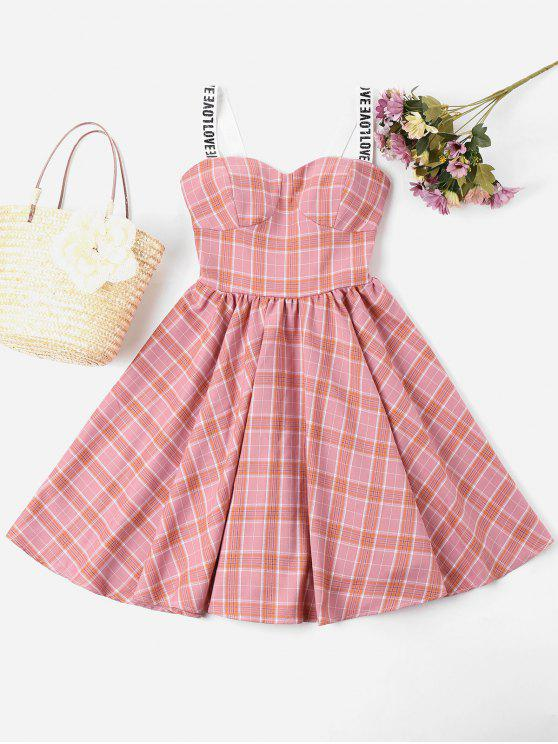 chic Plaid Sweetheart Dress - LIGHT PINK S