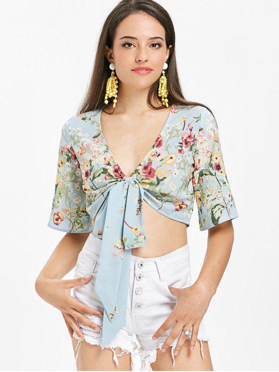 shop Tie Front Watercolor Floral Crop Top - LIGHT BLUE L