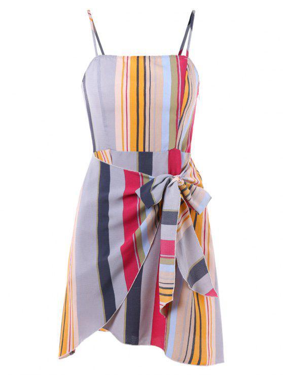 Robe Portefeuille Rayée avec Attache - Multi L