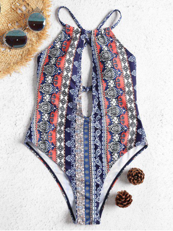 Costume Da Bagno A Taglio Alto Con Incrocio Indietro - Multi Colori L