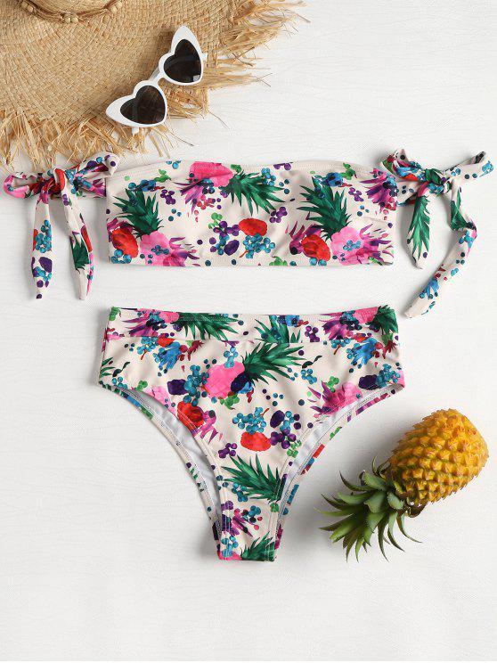 Bikini de tubo de corte alto con piña - Multicolor M