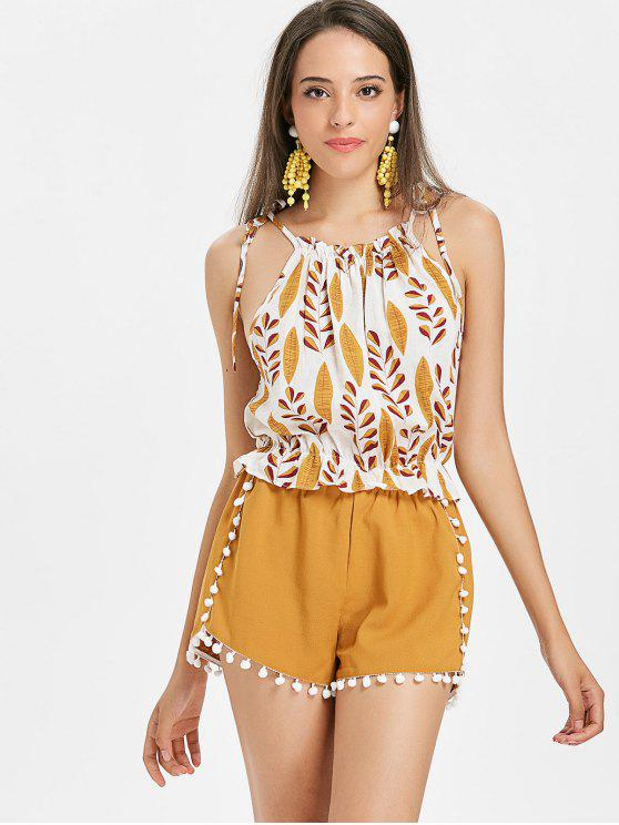 shops Leaves Print Cami Top - WHITE S